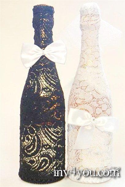 Новогоднее украшение на шампанское своими руками