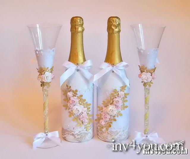 Оформление свадебных бутылок