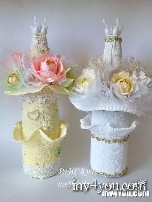 Оформление шампанского на свадьбу своими руками мастер