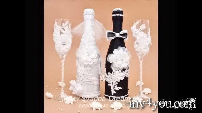 Оформление свадебных бутылок шампанского своими руками