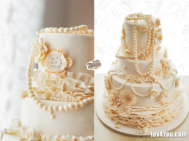 Можно на жемчужную свадьбу заказать торт и просто украшенный морскими раковинами, жемчугом и всем