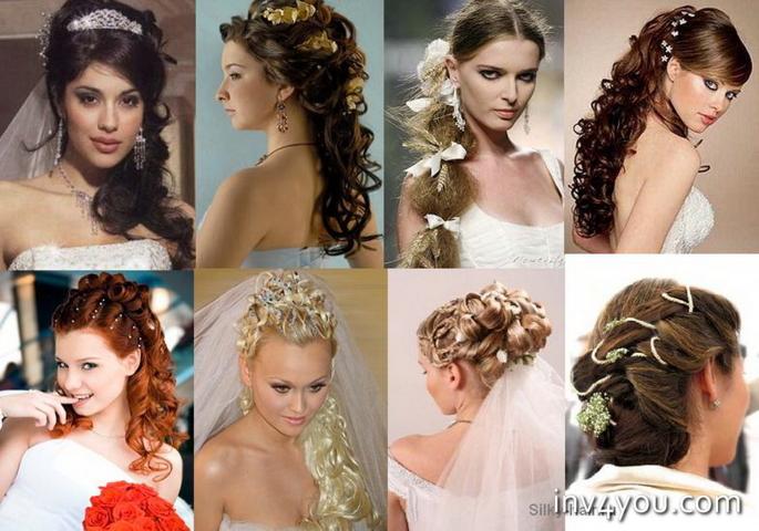 Причёски на свадьбу на средние волосы без чёлки фото