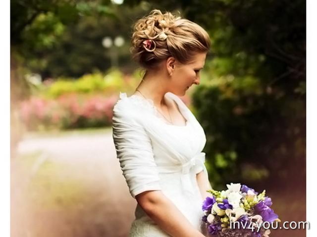 Свадебные прически к закрытому свадебному платью фото