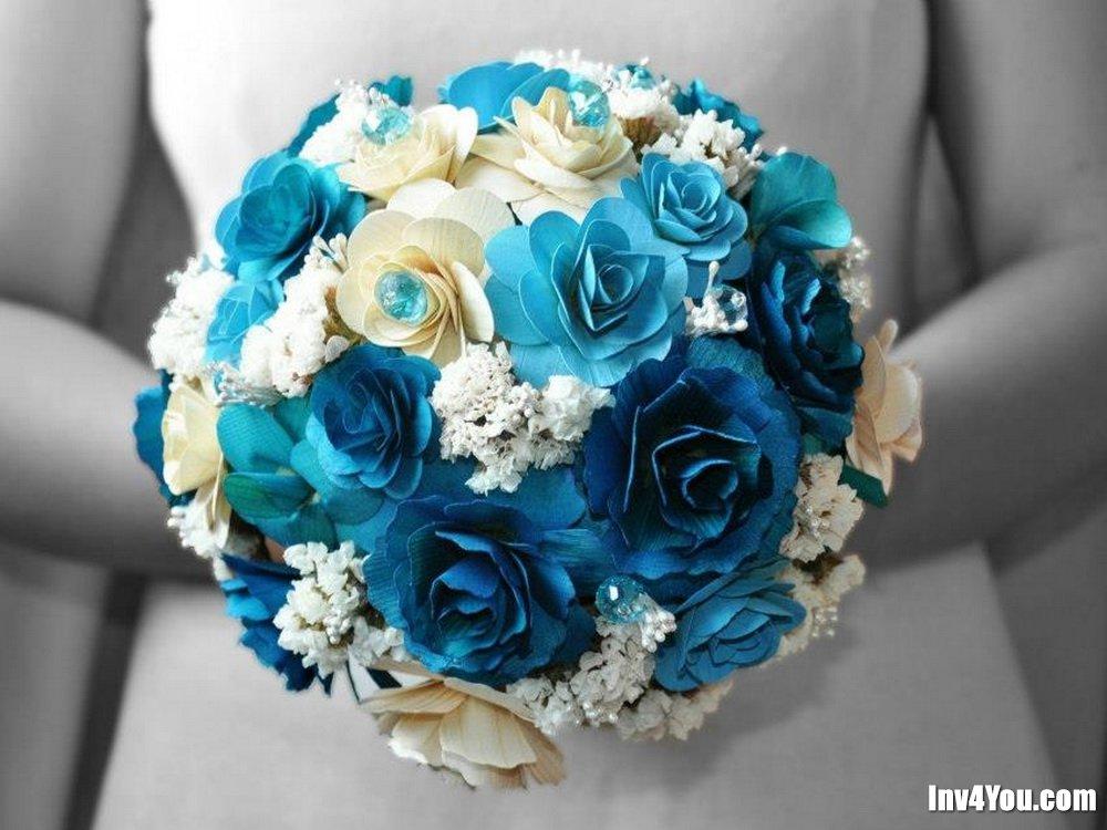 Свадебные букеты в бирюзовом цвете фото